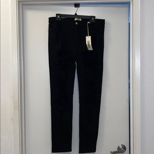 Black XL stretch distressed legs high waist jeans